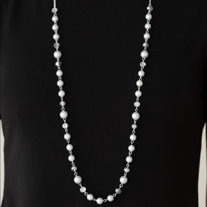 Pearl and beaded long necklace with earrings